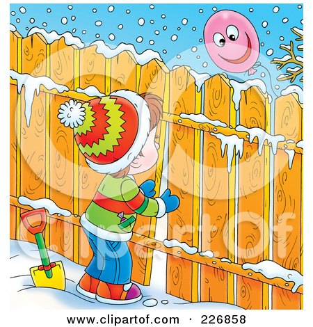 Royalty-Free (RF) Clipart Illustration of a Brunette Boy Peeking Through A Fence At A Balloon by Alex Bannykh