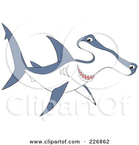 Royalty-Free (RF) Clipart Illustration of a Cute Blue And White Hammerhead Shark by Alex Bannykh