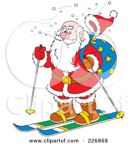 Royalty-Free (RF) Clipart Illustration of Santa's Hat Flying Off While Skiing by Alex Bannykh