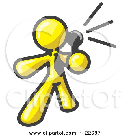 Clipart Illustration of a Yellow Man Holding a Megaphone and Making an Announcement by Leo Blanchette