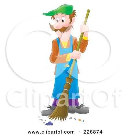 Royalty-Free (RF) Clipart Illustration of an Airbrushed Man Sweeping A Floor by Alex Bannykh