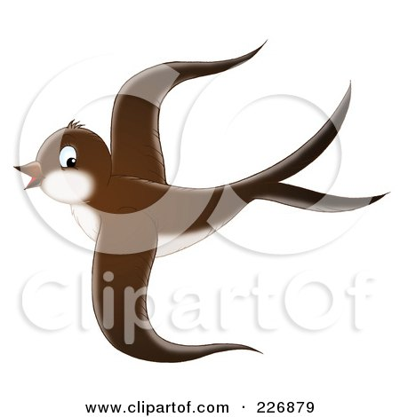 Royalty-Free (RF) Clipart Illustration of a Cute Brown Swallow In Flight by Alex Bannykh