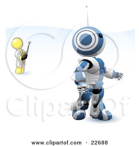 Clipart Illustration of a Yellow Man Inventor Operating An Blue Robot With A Remote Control by Leo Blanchette