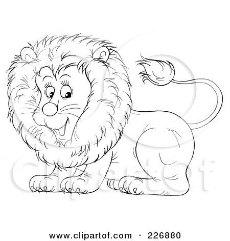 Coloring Page Outline Of A Cute Lion Posters Art Prints