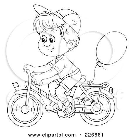 Royalty free rf clipart illustration of a coloring page for Bike riding coloring pages