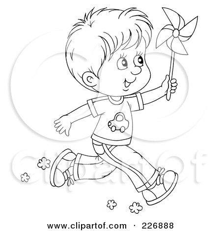 Мальчик бежит раскраска