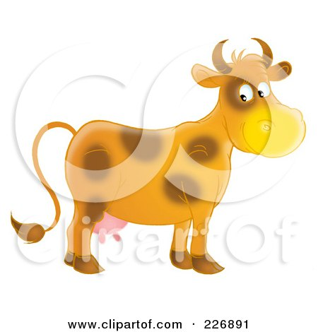Royalty-Free (RF) Clipart Illustration of a Happy Brown Cow by Alex Bannykh