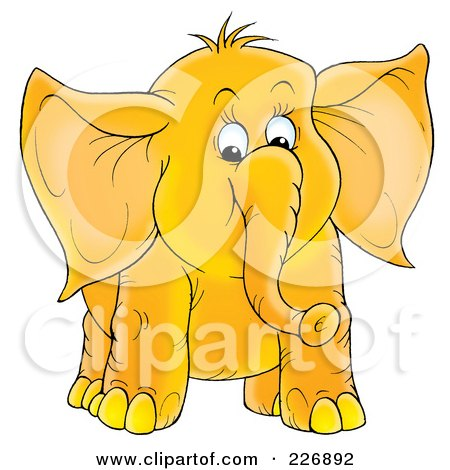 Clipart Of A Black And White Cute Elephant With A