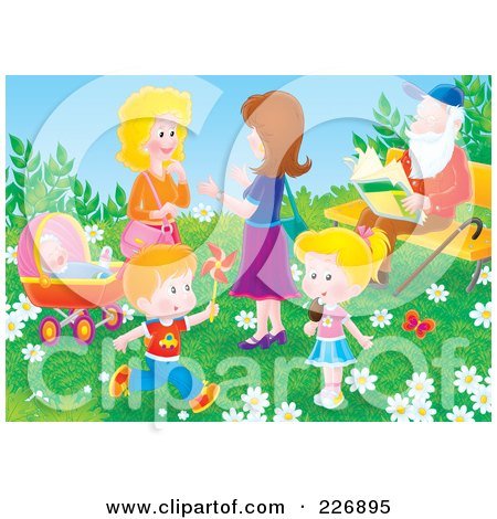 Royalty-Free (RF) Clipart Illustration of Two Women And Children In A Park By A Man Sitting On A Bench by Alex Bannykh