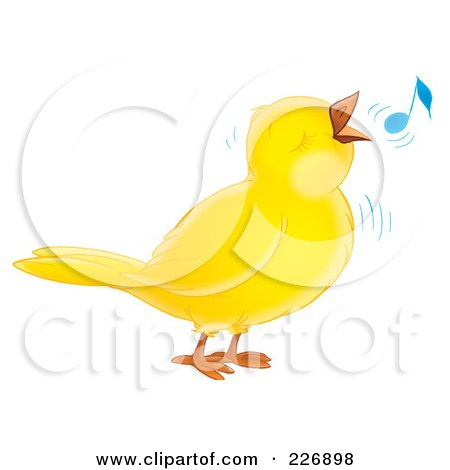 Royalty-Free (RF) Clipart Illustration of a Cute Yellow Whistling Bird by Alex Bannykh