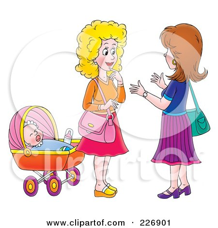 Royalty-Free (RF) Clipart Illustration of Two Women Chatting By A Baby by Alex Bannykh