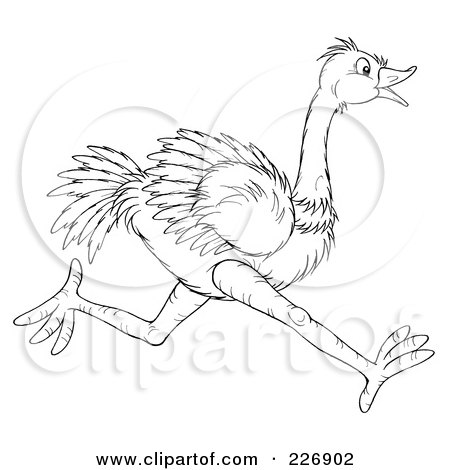 Royalty-Free (RF) Clipart Illustration of a Coloring Page Outline Of A Running Ostrich by Alex Bannykh
