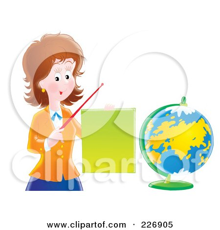 Royalty-Free (RF) Clipart Illustration of a Female Teacher Discussing Geography by Alex Bannykh