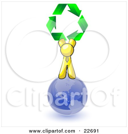 Clipart Illustration of a Yellow Man Standing On Top Of The Blue Planet Earth And Holding Up Three Green Arrows Forming A Triangle And Moving In A Clockwise Motion, Symbolizing Renewable Energy And Recycling by Leo Blanchette