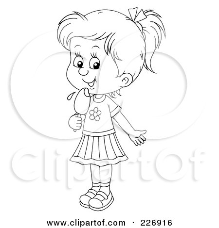 Royalty-Free (RF) Clipart Illustration of a Coloring Page Outline Of A Girl Licking A Popsicle by Alex Bannykh