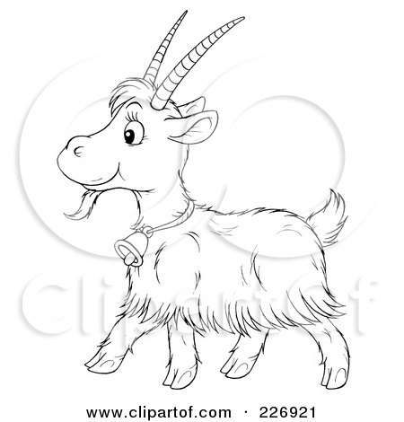 Royalty-Free (RF) Clipart Illustration of a Coloring Page Outline Of A Cute Goat by Alex Bannykh