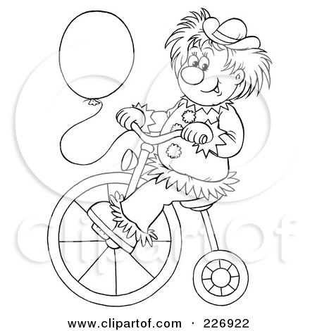 royaltyfree rf clipart of a coloring page outline of a clown with a balloon riding a bike by alex bannykh - Clown Balloons Coloring Page