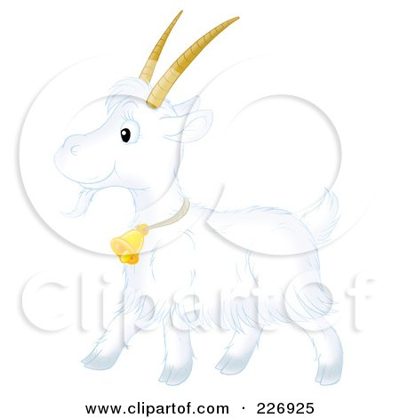 Royalty-Free (RF) Clipart Illustration of a Cute White Goat by Alex Bannykh
