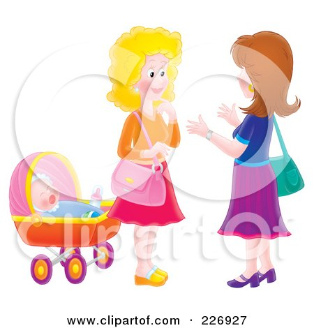 Royalty-Free (RF) Clipart Illustration of Two Airbrushed Women Chatting By A Baby by Alex Bannykh
