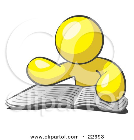 Clipart Illustration of a Yellow Man Character Seated And Reading The Daily Newspaper To Brush Up On Current Events by Leo Blanchette