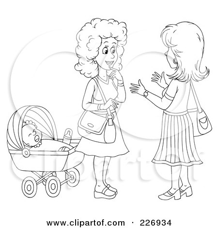 Royalty-Free (RF) Clipart Illustration of a Coloring Page Outline Of Two Women Chatting By A Baby by Alex Bannykh