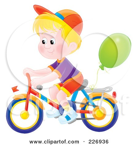 Royalty-Free (RF) Clipart Illustration of an AirbrushedBlond Boy Riding A Bike With A Balloon Attached by Alex Bannykh