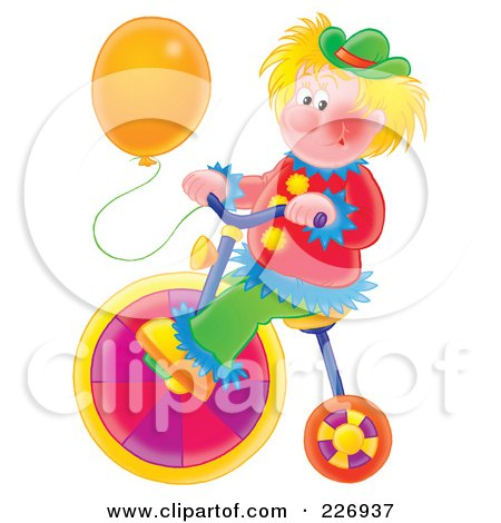 Royalty-Free (RF) Clipart Illustration of a Clown With A Balloon, Riding A Colorful Bike by Alex Bannykh