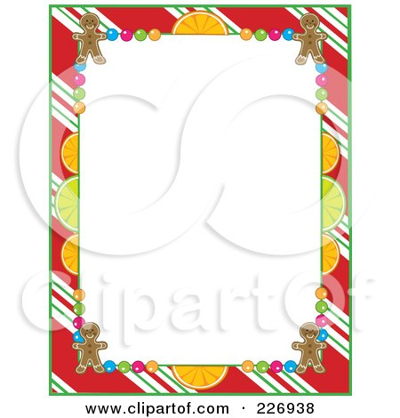 Royalty-Free (RF) Clipart Illustration of a Frame Of Peppermint Stripes, Citrus, Candy And Gingerbread Cookies by Maria Bell