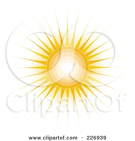 Royalty-Free (RF) Clipart Illustration of a Shining Sun With Concentric Circles And Long Rays by Maria Bell