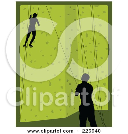 Royalty-Free (RF) Clipart Illustration of a Pair Of Rock Climbers Scaling A Green Climbing Wall by Maria Bell