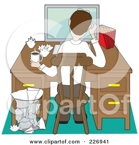 Royalty-Free (RF) Clipart Illustration of a Rear View Of A Stressed Man Working Through A Problem At A Computer On A Desk by Maria Bell