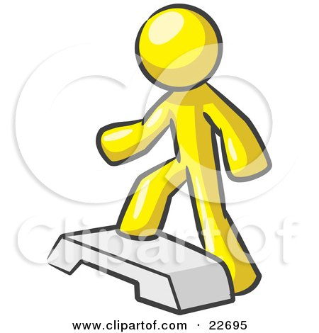 Clipart Illustration of a Yellow Man Doing Step Ups On An Aerobics Platform While Exercising by Leo Blanchette