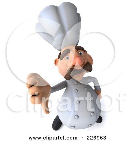 Royalty-Free (RF) Clipart Illustration of a 3d Chef Man Holding A Thumb Down by Julos