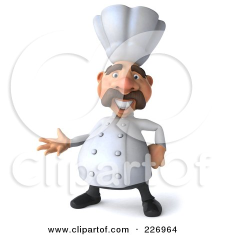 Royalty-Free (RF) Clipart Illustration of a 3d Chef Man Gesturing by Julos