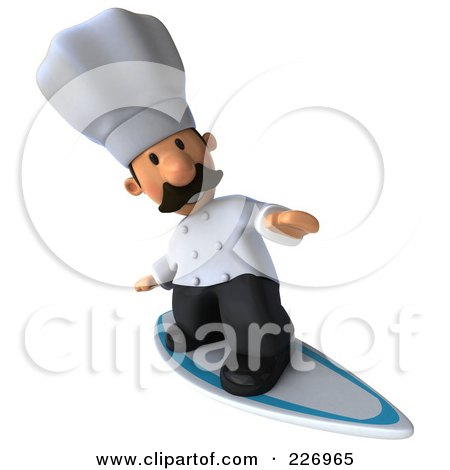 Royalty-Free (RF) Clipart Illustration of a 3d Chef Man Surfing - 2 by Julos
