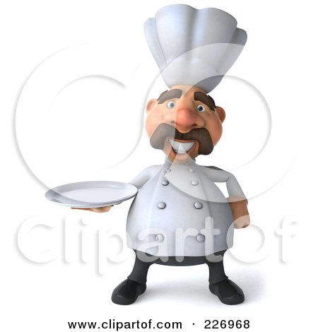 Royalty-Free (RF) Clipart Illustration of a 3d Chef Man Facing Front And Carrying A Platter by Julos