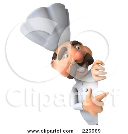Royalty-Free (RF) Clipart Illustration of a 3d Chef Man Pointing To A Blank Sign by Julos