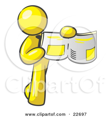 Clipart Illustration of a Yellow Man Holding Up A Newspaper And Pointing To An Article by Leo Blanchette