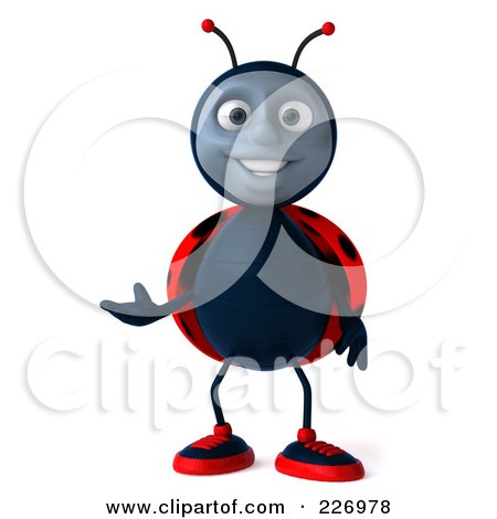 Royalty-Free (RF) Clipart Illustration of a 3d Ladybug Facing Front And Gesturing by Julos