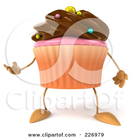 Royalty-Free (RF) Clipart Illustration of a 3d Chocolate Frosted Cupcake Gesturing by Julos