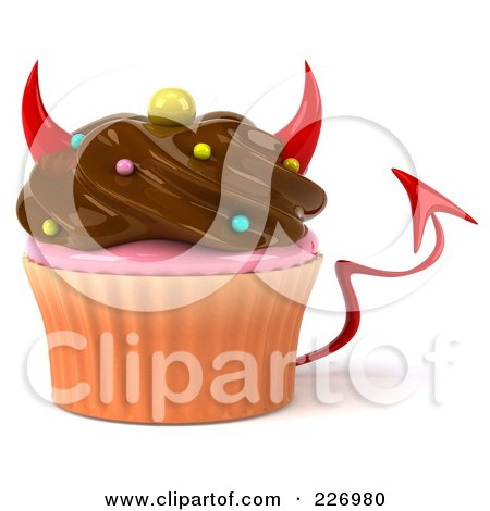Royalty-Free (RF) Clipart Illustration of a 3d Devil Chocolate Frosted Cupcake by Julos
