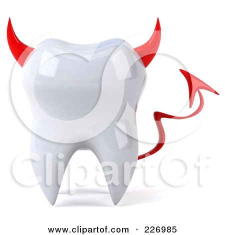 Royalty-Free (RF) Clipart Illustration of a 3d Devil Tooth Character by Julos