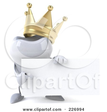 Royalty-Free (RF) Clipart Illustration of a 3d Dental Tooth Character Wearing A Crown And Holding A Card - 2 by Julos