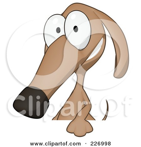 Royalty-Free (RF) Clipart Illustration of a Cartoon Brown Pookie Wiener Dog Smiling Over A Blank Sign by Julos