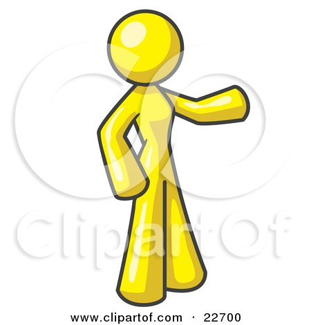 Clipart Illustration of a Yellow Woman With One Arm Out by Leo Blanchette