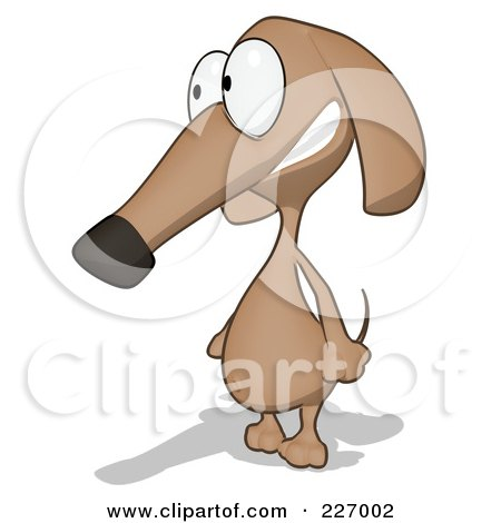 Royalty-Free (RF) Clipart Illustration of a Cartoon Brown Pookie Wiener Dog Facing Left by Julos