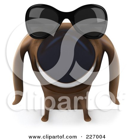 Royalty-Free (RF) Clipart Illustration of a 3d Chubby Dachshund Dog Wearing Shades Over A Blank Sign - 3 by Julos