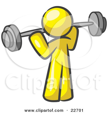 Clipart Illustration of a Yellow Man Lifting A Barbell While Strength Training by Leo Blanchette