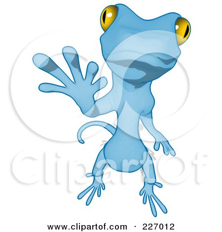Royalty-Free (RF) Clipart Illustration of a Blue Cartoon Gecko Waving - 2 by Julos