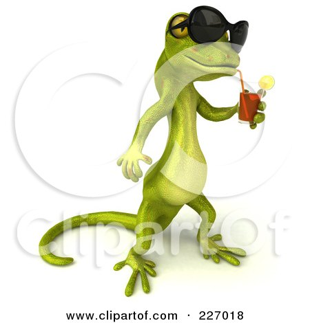 Royalty-Free (RF) Clipart Illustration of a 3d Pico Gecko Character Wearing Shades And Drinking A Beverage by Julos